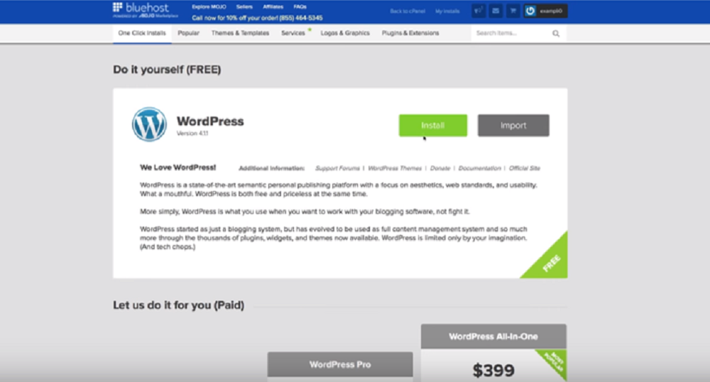 Bluehost one click install wordpress