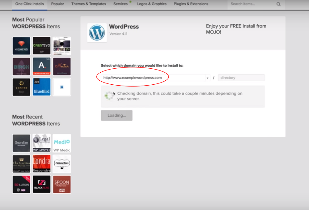 bluehost one click install wordpress select domain